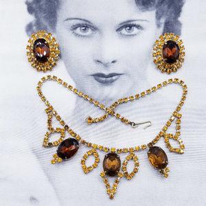 Vintage Champagne Amber Rhinestone Necklace Set